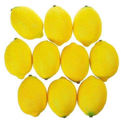 Juvale Limones Artificial Realista Decorativo hogar Cocina Fruta Falsa–Set de 10(3,75x 2,5Pulgadas)