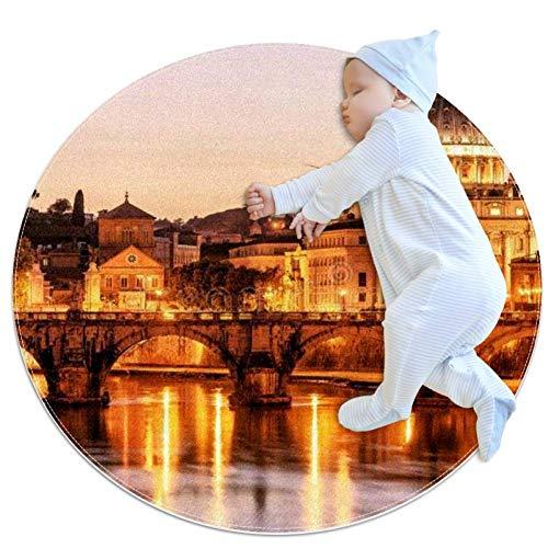 KAIXINJIUHAO Nachtsicht Sant'angelo, runder Kinderteppich runder Teppich für Kinder Spielmatte Baby Junge Mädchen weicher Teppich Bereich Teppich, 70 x 70 cm, multi, 70x70cm/27.6x27.6IN