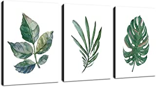 "Canvas Wall Art Green Leaf Simple Life Painting 12"" x 16"" x 3 Pieces Framed Canvas Pictures Watercolor Prints Contemporary Canvas Artwork Ready to Hang for Home Decoration Kitchen Office Wall Decor"