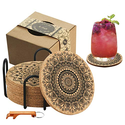 """Coasters for Drinks, Jecarden Coasters for Wooden Table Coasters for Drinks Absorbent with Holder 8-Pack Nature Cork Coasters Round Cup Mat Pad Vintage Mandala Style 4"""" Diameter"""