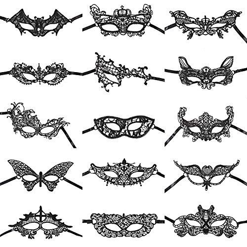 URAQT Maschera di Pizzo, Maschera Veneziana, Maschera veneziana donna sexy, Mascherata, Carnevale, Festa di Compleanno, Festa in Maschera, 15 pezzi