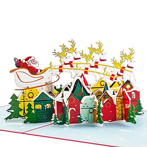 Favour Pop Up Weihnachtskarte. Auf kleinstem Raum ein filigranes Kunstwerk. (red-blue)