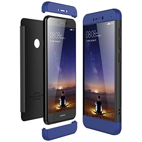 CE-Link Funda Huawei P8 Lite 2017, Carcasa Fundas para Huawei P8 Lite 2017, 3 en 1 Desmontable Ultra-Delgado Anti-Arañazos Case Protectora - Azul + Neg