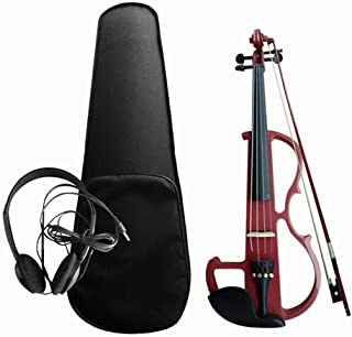 Sangmei 4/4 Electroacoustic Violin Kit Solid Wood Electric Silent Violin Fiddle Style Basswood Body Ebony Fingerboard Pegs...