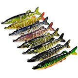 MKNzone 1 Multi-articulées 12.5 cm/21g Señuelo de Pesca Realista de 9 Segmentos,2 anzuelos triples Cebo para Lucio(13 Colores aleatorios)
