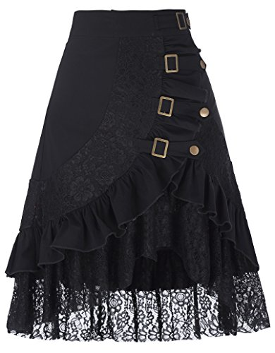 Belle Poque Women's Gypsy Hippie Skirts Floral Lace Splice Irregular Hem Club Skirt Black XL