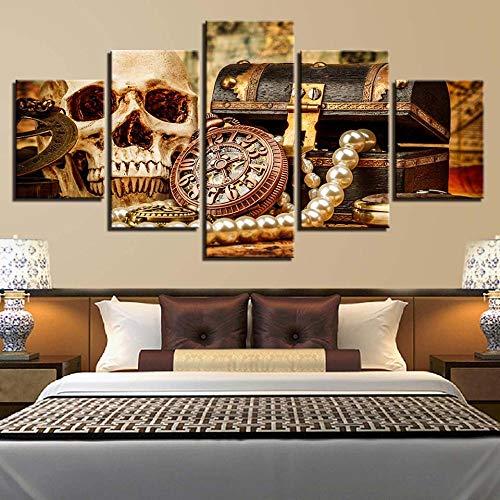 SWMLDM Cuadro En Lienzo No Tejido 5 Piezas 150X80Cm Caja De Brújula De Calavera Hd Impreso Modular Pintura Mural Fotos Moderno Para Salon Dormitorio Niños Habitación Decoración La Del Hogar Regalo
