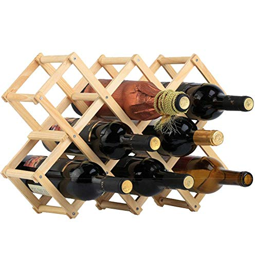 Logo Wood Wine Rack 10-Bottle Holder Foldable Free Standing Home Kitchen Cabinet Wooden Racks Stand Storage Rustic Countertop Decor Organizer(Natural )