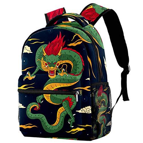 Mochila de viaje con diseño de dragón chino, color azul marino, para mujeres, adolescentes, niñas y niños