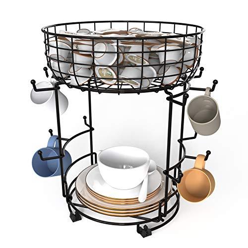 Bextsrack Coffee Mug Holder with Coffee Pod amp Saucer Basket Storage 12 Capacity Cup Mug Holder Tree for Coffee Glasses and Cups Rust Resistant Mug Rack