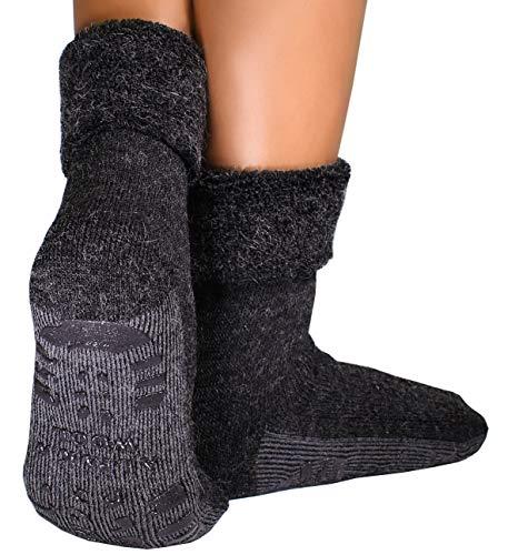 dunaro 1 Paar ABS Anti Rutsch Socken Alpaka Socken Stoppersocken Noppensocken Damen und Herren (1 Paar / 39-42 Anthrazit)