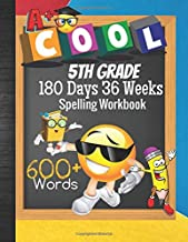 5th Grade 180 Days 36 Weeks Spelling Workbook 600+ Words: Cool Emoji Fifth Grader Vocab Word List Curriculum Worksheets: Unscramble Words, ... Quiz, Blank Testing Sheets & Grades Tracker