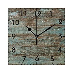 YiGee Rustic Wood Quiet Wall Clock - 8 Inch Quality Quartz Battery Operated Square Analog Silent Easy to Read Home/Office/School Clock
