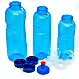 3 x Original TRITAN Trinkflaschen ohne Weichmacher BPA frei Set:1x1 Liter (rund), 1x 0,75 Liter (rund), 1x0,5 Liter (rund) + 3 Standarddeckel + 2 Sportdeckel (FlipTop) + 1 Trinkdeckel  (Push PULL)