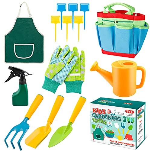 MojiDecor Herramientas de Jardín para Niños, Herramientas de Juego para el Jardín / Playa, Kit Jardineria Niños 14 Piezas con Herramientas y regadera.