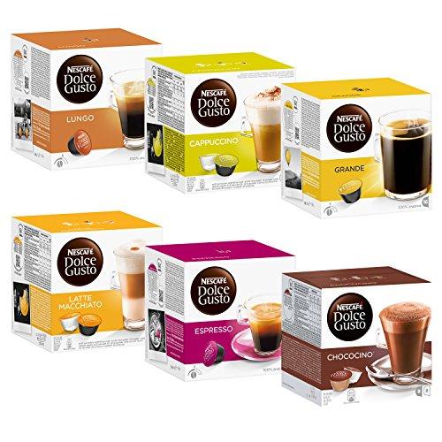 Nescafé Dolce Gusto Kapseln Basic-Set: Lungo, Cappucino, Latte Macchiato, Espresso, Chococino, Crema Grande, 6 x 16 Kapseln