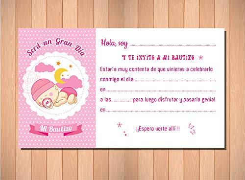 Invitaciones y Recordatorios para Bautizo Niña - Límpias Bonitas y Elegantes - (Pack 20 invitaciones + 20 sobres)