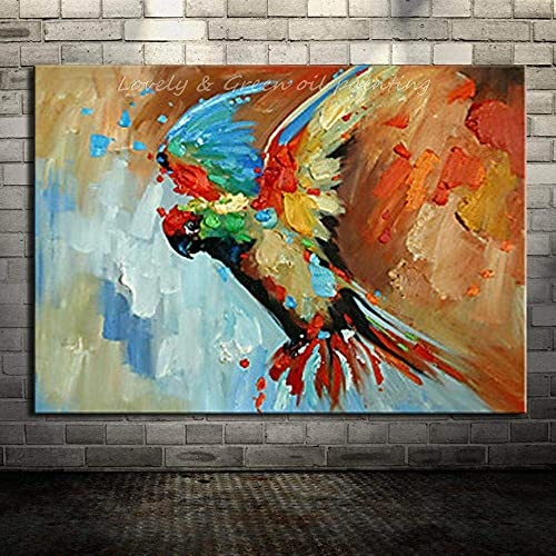 Living Equipment Hand Painted Oil Painting On Canvas,Palette Knife Colorful Parrot Oil Paintings On Canvas Modern Abstract Wall Decorative Picture Art For Living Room Bedroom Corridor Office Hotel