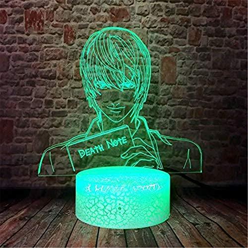 Lámpara 3D de ilusión óptica 3D, luz nocturna 3D, nota de muerte, 16 cambio de color, lámpara decorativa con control remoto para sala de estar, cama, bar, mejor regalo de juguetes