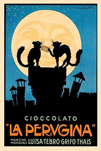 "Black Cats Happy Moon Chocolate Cioccolato La Perugina Italy Italia Italian Food Vintage Poster Repro (20"" X 30"" Image Matte Paper)"