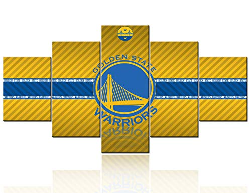 Native American Basketball Decor NBA Wall Art The Golden State Warriors Logo Paintings Sports Pictures Oracle Arena Artwork Home Decor for Living Room Framed Gallery-Wrapped Ready to Hang -60''Wx32''H