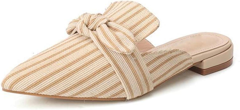 Brilliant sun Women's Casual Bow Tie Stripe Slip On Low Heeled Toe Mule