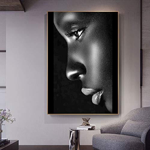 Black silhouette lips woman canvas painting abstract African woman poster and print mural picture for living room home decoration 60X90 Frameless