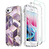 TiiParPar iPhone SE2 Case, iPhone 7/8 case with Screen Protector Violet Marble Grid 2 in 1 Clear PC Bumper Soft TPU Back Cases for iPhone 6/7/8/6s 4.7inch[Screen Protector](Light Purple)