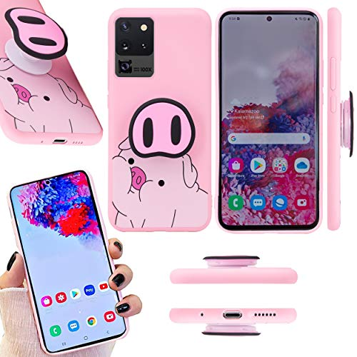 Cute Galaxy S20 Ultra Case Pig Phone Case with Popsocket I Piggy Nose Pop Socket Cases- 3D Pigs Noses Pattern Stand Glaxy Back Cover I Pink Protective Lanyard Cartoon Case for Samsung Galaxy S20 Ultra