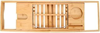 Sonmer Multifunction Bathtub Bamboo Tray, With Extending Sides, Ipad Tray And Wineglass Holder