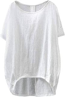 AOJIAN Women's T Shirt Short Sleeve Cotton Linen Solid Tunic Shirts Blouse Tanks Vest Tops
