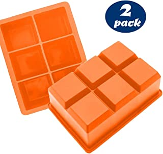 Large Ice Cube Tray for Whiskey - Orange Silicone Ice Tray Mold for 6 Giant Ice Cubes (2 Pack)