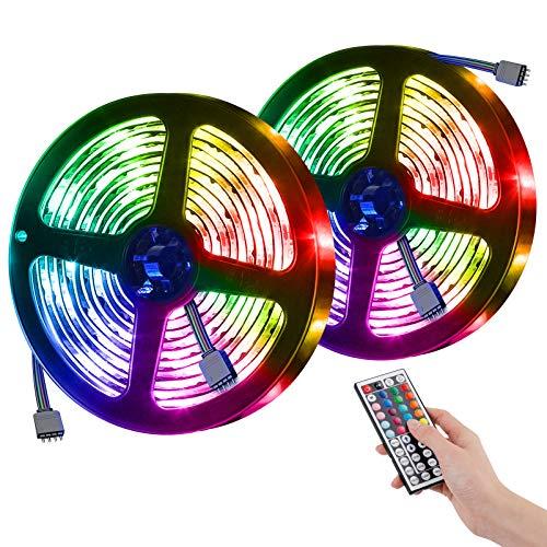 UBEGOOD LED Streifen 10M, RGB LED Strip SMD 5050 300 LEDs Stripes mit 44 Tasten IR-Fernbedienung, Dimmbar Lichtband IP65 Wasserdicht LED Bands für Zuhause, Küche, Terrasse, Party, TV, Schrankdeko