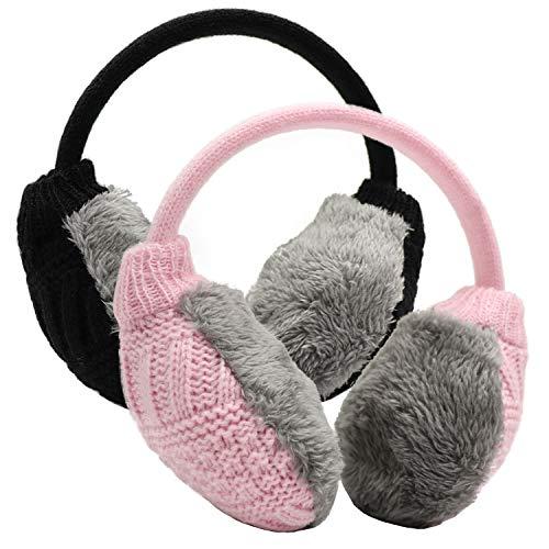 PODALOA Ear Muffs For Women Men Winter Ear Warmers Unisex Adjustable Outdoor Earmuffs 2PCS BlackPink