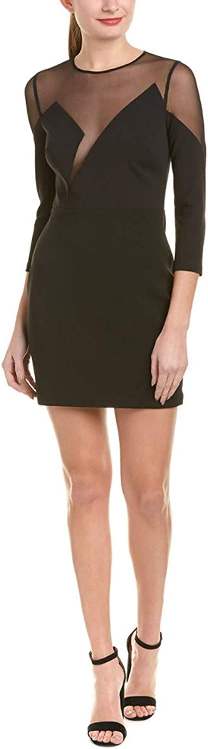 BCBGMAXAZRIA Womens Edesa 3 4 Sleeve Short Dress with Tulle