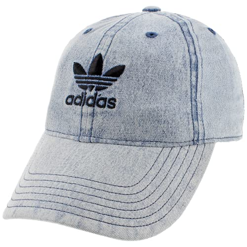 adidas Originals Women's Relaxed Fit Adjustable Strapback Cap, Washed Blue Denim, One Size