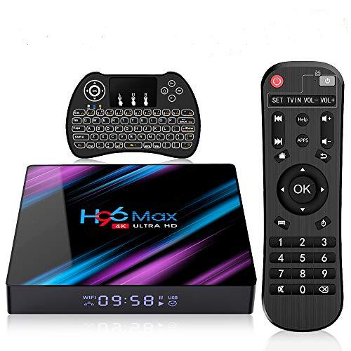 Android TV Box 9.0 H96 Max+ 4 GB + 64 GB Smart TV Box 4K Ultra HD RK3328 Quad-Core 64bit CPU 2.4G/5GHz WiFi 100M LAN Ethernet H.265 Bluetooth 3D Set Top Box mit Mini Wireless Backlit Keyboard