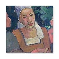 INOVポール・ゴーギャン ブルターニュ人 小作人1894年 キャンバス アートパネル アートフレーム フレーム アートボード 部屋飾り 壁掛け ソファの背景絵画 木枠セット(40*40cm)