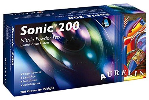 Sonic 200 9377A5 - Guantes de nitrilo sin polvo (200 unidades, tamaño extrapequeño), color azul