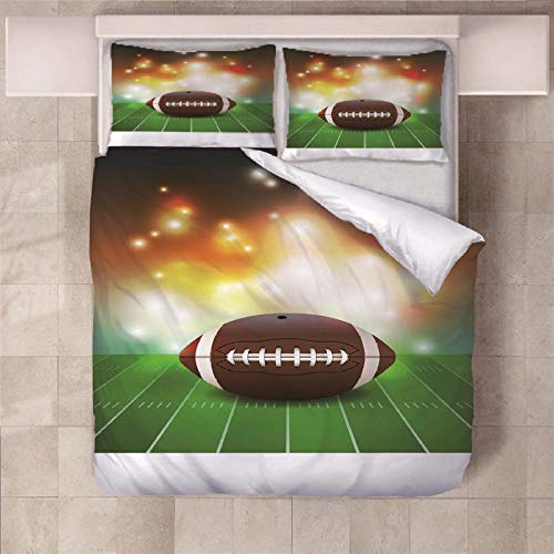 NHBTGH Duvet Cover Set Rugby Printed Bedding Set Microfiber with Zipper Closure Quilt Cover and 2 Pieces Pillowcases Duvet Set for Teens Girls Boys Green 55.12x78.74 inch