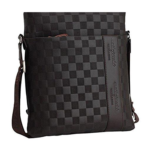 Unbekannt MissFox Herren Geschäft Tasche Normallack Plaid Glatte Metall Reißverschluss Setzen iPad und Dokumente Können Braun