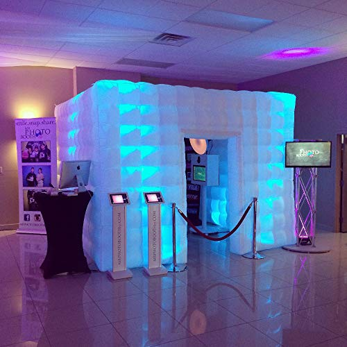 Stagerbooth Inflatable Portable Photo Booth Enclosure with 16 Colors LED Changing Lights and Inner Air Blower for Weddings Parties Promotions Advertising (One door)