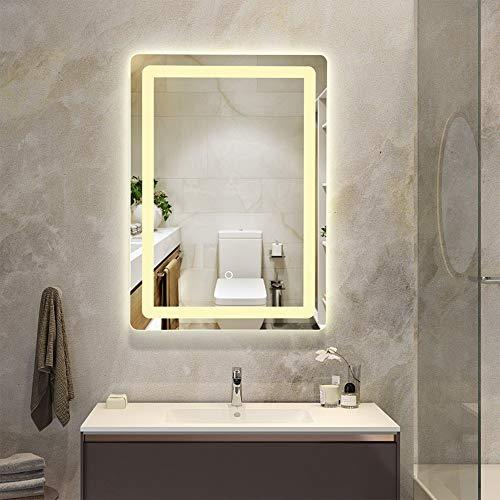 Lampara de Espejo Baño Cuarto de baño con luz LED montado en la pared Espejo con luz regulable contra la niebla de la memoria del botón del tacto sin marco de espejo Iluminación para Maquillaje