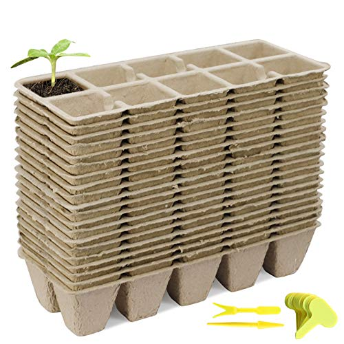 Seedling Start Trays Peat Pots 200Cells Seedling Pots Biodegradable Seed Starter Kit Organic Germination Seedling Trays for Outdoor Indoor Plants with 200Plant Labels,2 Transplanting Tools