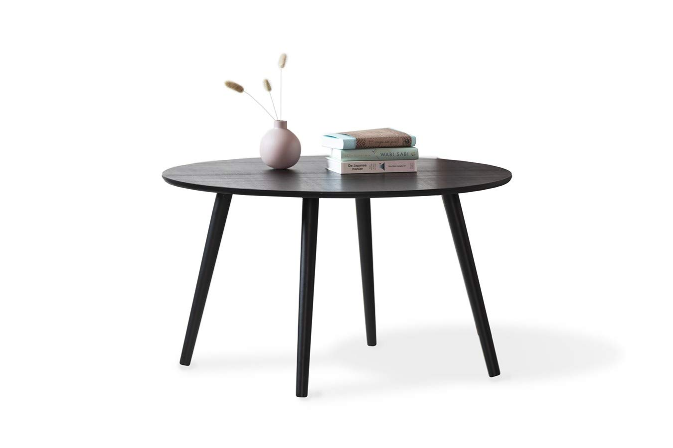 - LIFA LIVING Extra Large Wooden Side Table, Round Coffee Table With