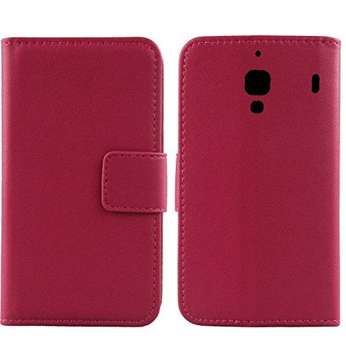 Gukas Design Genuino Cuero Case para Xiaomi Hongmi 1S / Redmi Red Rice Flip Billetera Funda Autentico Ranuras Tarjetas Piel Premium Cover (Rosa)