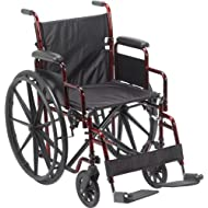 Drive Medical Rebel Lightweight Wheelchair, Red