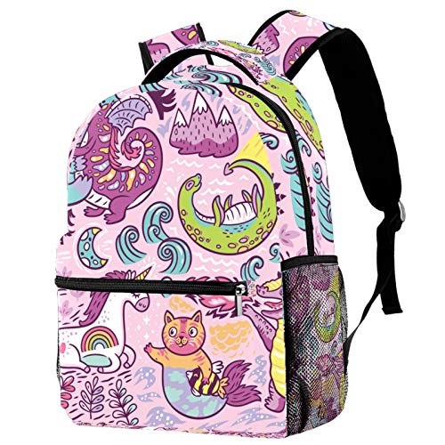 Lightweight Packable Hiking Backpacks with Wet Pocket Wateproof Handy Foldable Camping Outdoor Travel DaypackDragon Unicorn Cat Dinasour