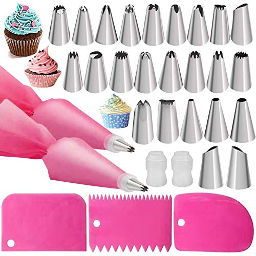 31Pcs Silikon Zuckerguss Piping Bag Tipps,24×Edelstahl-Düsen, 2×Wiederverwendbare rosa Spritzbeutel, 3×Rosa Schaber, 2×Wandler für Kuchen dekorieren, Creme Gebäck Tasche Set Kuchen Cupcakes Cookie
