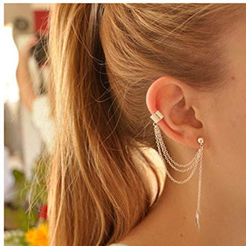 Jovono Pendientes de borla de hoja de joyería para mujeres y niñas (oro)